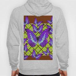 Migrating Purple Butterflies  on  Coffee Brown & Lime Color Pattern Hoody