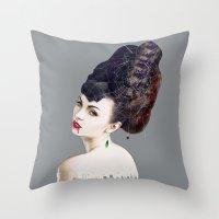 black widow Throw Pillows featuring Black Widow by Daniac Design