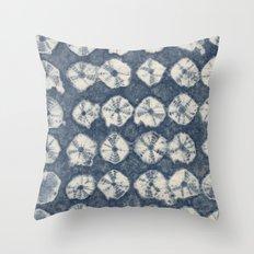 Indigo Spiderweb Shibori Throw Pillow