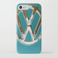vw bus iPhone & iPod Cases featuring Turquoise Beauty VW Bus by wildVWflower
