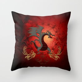 Funny dragon with floral elements Throw Pillow