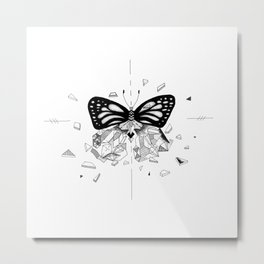 Shatter Me - destroyed butterfly black and white Metal Print