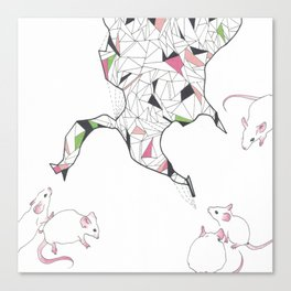 At Night the Lab Mice Bend Space and Time Canvas Print