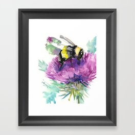 Bumblebee and Thistle Flower, honey bee floral Framed Art Print