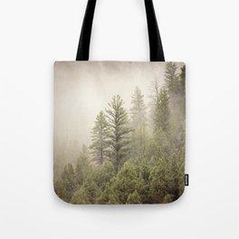 Color Landscape | Pine Forest in Fog Tote Bag