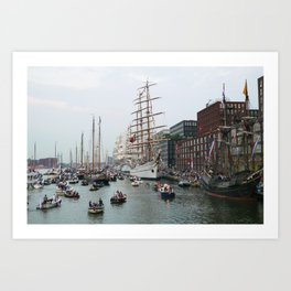 Tall ships in Amsterdam's Harbour Art Print