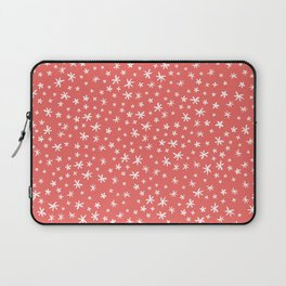 teeny white flowers on pink Laptop Sleeve