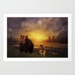 Native american boy and the bear Art Print