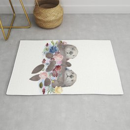 Sea Otters Holding Hands, Love Art Rug