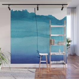 Cute Sinking Anchor in Sea Blue Watercolor Wall Mural