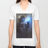 wizard V-neck T-shirts featuring Astronaut Wizard by Jordan Grimmer