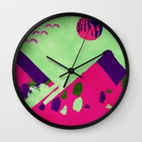 watermelon Wall Clocks featuring Watermelon  by SensualPatterns