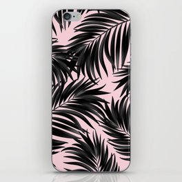 Palm Tree Fronds Black on Pink Hawaii Tropical Graphic Design iPhone Skin