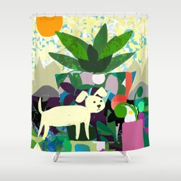 Collage With Dog and Plant Shower Curtain