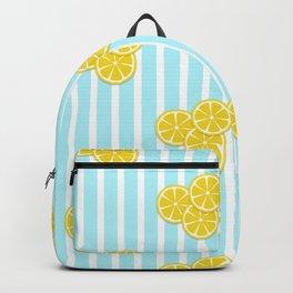 Lemon Slices on Light Blue Stripes Backpack