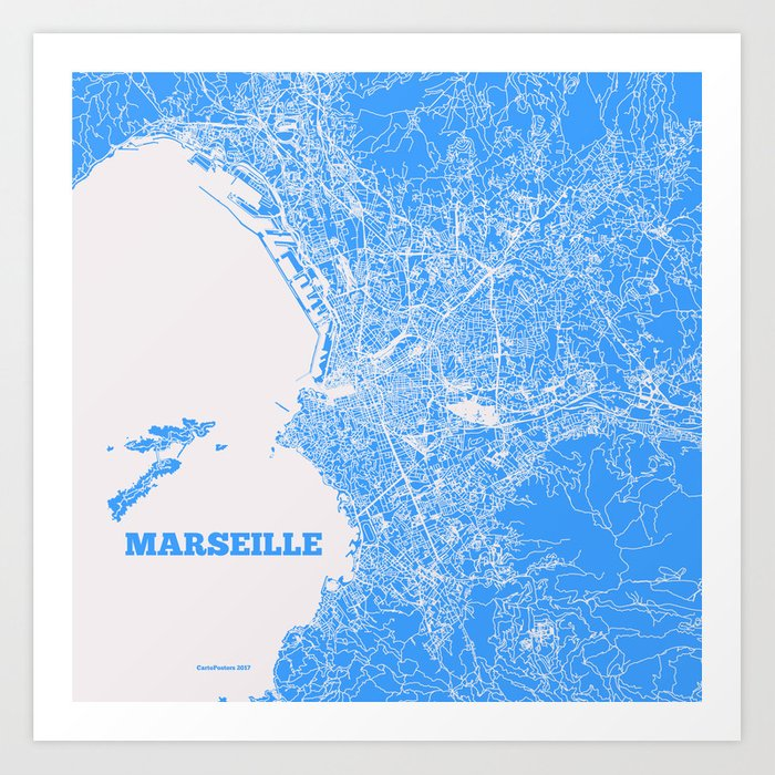 Marseille Map Of France.Marseille France Street Map Art Print By Cartoposters Society6