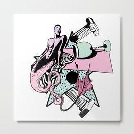 Vaporwave Merman Metal Print