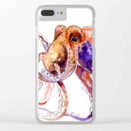Octopus, orange purple aquatic animal design Clear iPhone Case