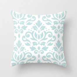 Scroll Damask Lg Pattern Duck Egg Blue on White Throw Pillow