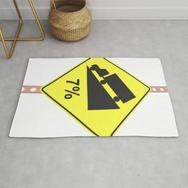 """""""Hill with 7% grad"""" - 3d illustration of yellow roadsign isolated on white background Rug"""