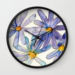 Dainty Purple Daisies Watercolour Wall Clock