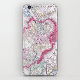 Vintage Map of Downtown Boston (1864) iPhone Skin