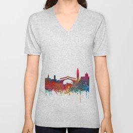 Venice Skyline Watercolor by Zouzounio Art Unisex V-Neck