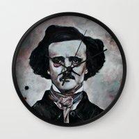 edgar allan poe Wall Clocks featuring Edgar Allan Poe by Bella Harris