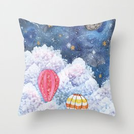 Rise Above | Night Sky Hot Air Balloon Illustration | Watercolor | Galaxy Throw Pillow