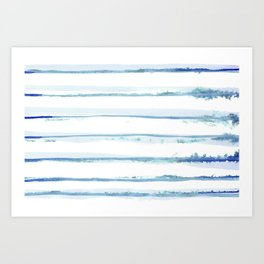 Abstract Watercolor Stripe Blue and White 09 Art Print