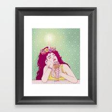 Unicorn Freakshake Lady Framed Art Print