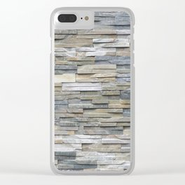 Gray Slate Stone Brick Texture Faux Wall Clear iPhone Case