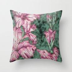Pink Gladiolas Throw Pillow