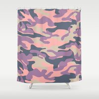 military Shower Curtains featuring Pink Military Camouflage Pattern by SW Creation