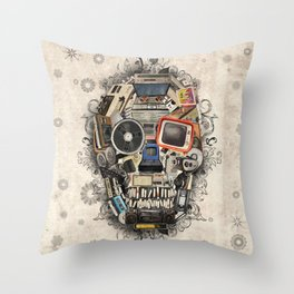 retro tech skull 2 Throw Pillow
