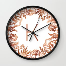 Letter K - Faux Rose Gold Glitter Flowers Wall Clock