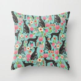 Italian Greyhound pet friendly pet portraits dog art custom dog breeds floral dog pattern Throw Pillow