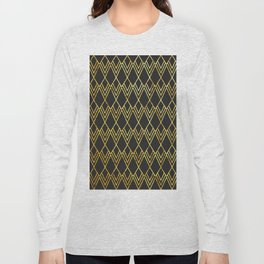 Art Deco Diamond Teardop - Black & Gold Long Sleeve T-shirt