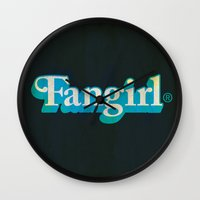fangirl Wall Clocks featuring Fangirl by Aaron Synaptyx Fimister