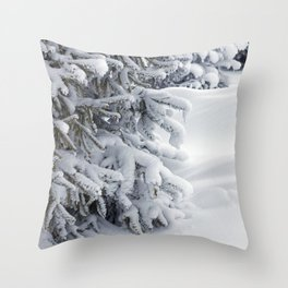 Snow Covered Trees After the Blizzard Throw Pillow