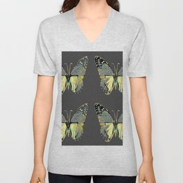 CHARCOAL GREY WESTERN STYLE BUTTERFLIES Unisex V-Neck