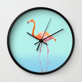 Low Poly Flamingo with reflection Wall Clock