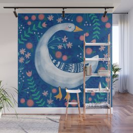 Whimsical Spring Goose & Flowers Wall Mural