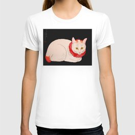 Shotei Takahashi White Cat In Red Outfit Black Background Vintage Japanese Woodblock Print T-shirt