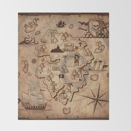 Pirate Map Throw Blanket