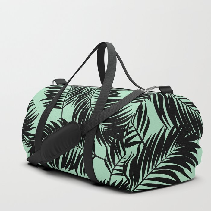 91ab67354fb0 Palm Frond Tropical Décor Leaf Pattern Black on Mint Green Duffle ...