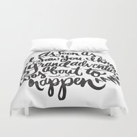 font Duvet Covers featuring grand adventure by Matthew Taylor Wilson