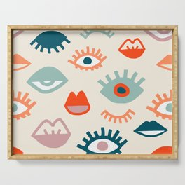 Mystic Eyes- Colorful cartoon seamless pattern with opened, closed eyes and lips in simple hand drawn style Serving Tray