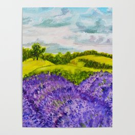 Lavender Fields Watercolor Poster