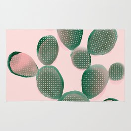 Watercolored Cactus on Pink Rug